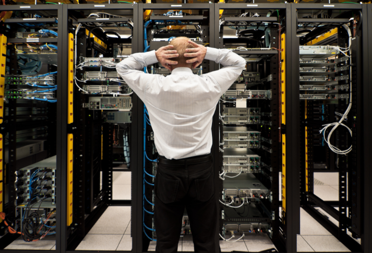 Man at the network data center