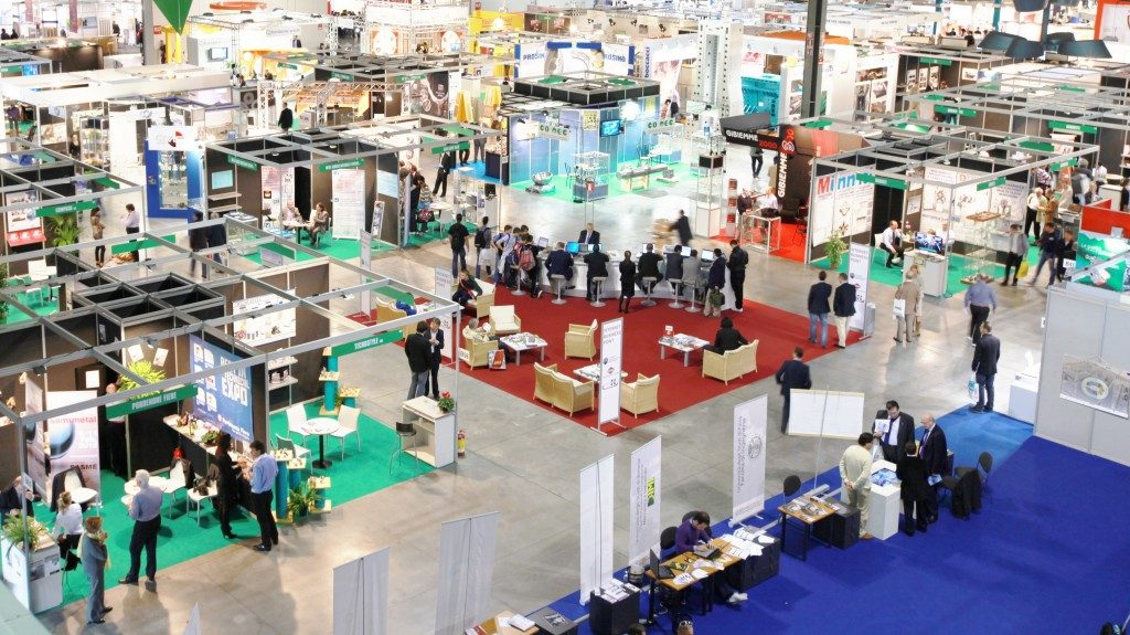 Aerial view of a trade show