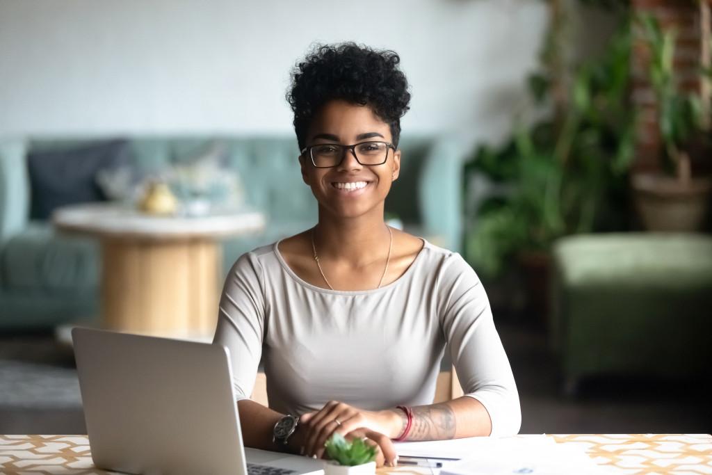 woman freelancer smiling